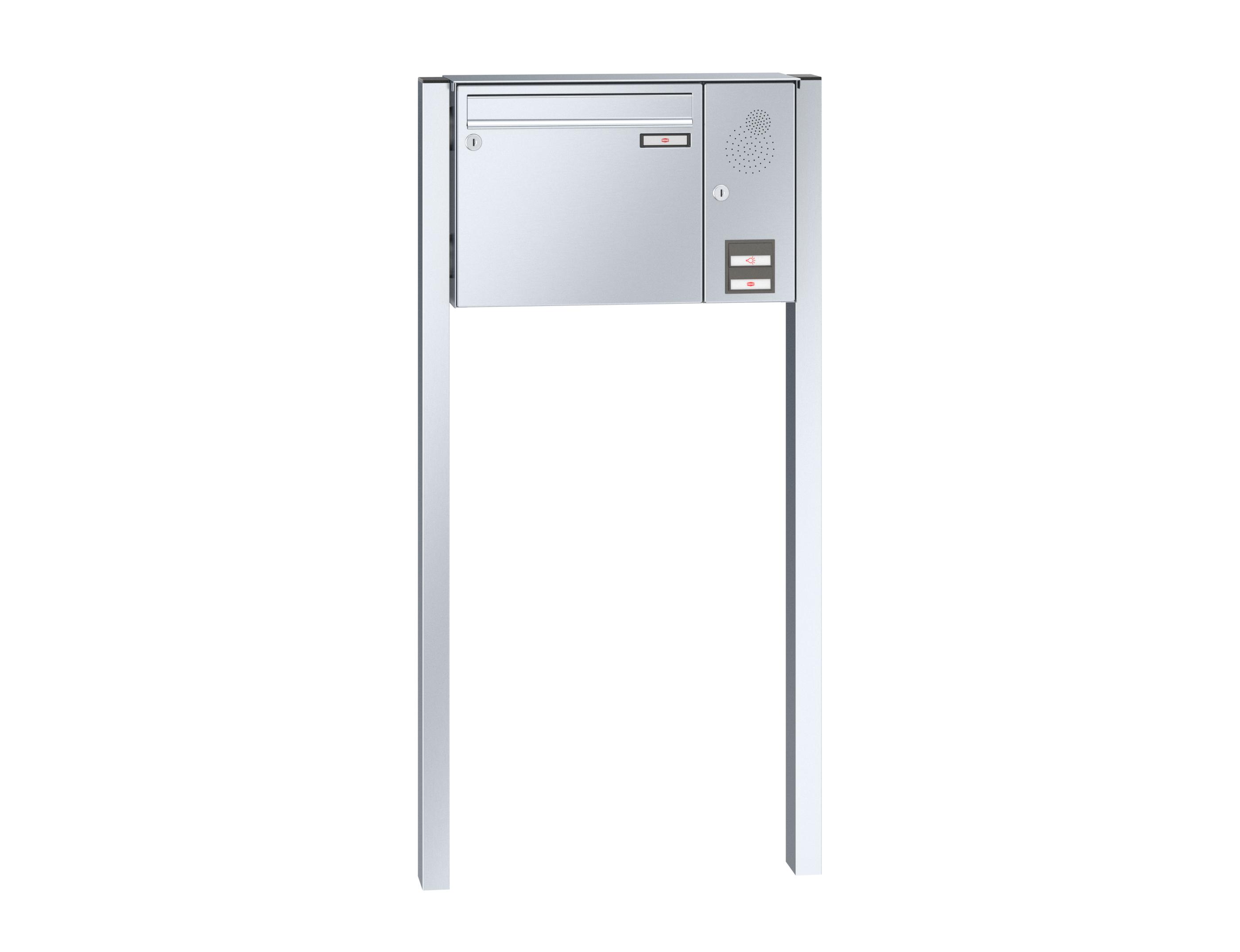RENZ Briefkastenanlage freistehend, Basic B, Edelstahl V4A, Kastenformat  370x330x145mm, mit Klingel - & Lichttaster und Vorbereitung ...