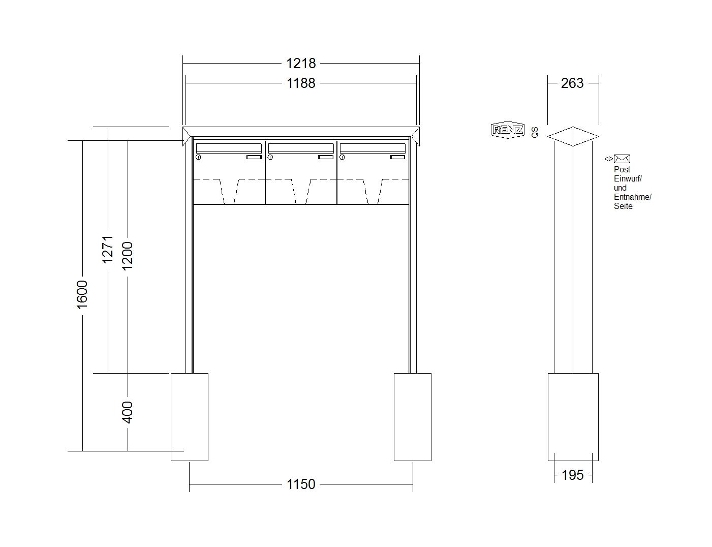 Renz Briefkastenanlage Freistehend Prisma Edelstahl V4a Kastenformat 370x330x145mm 3 Teilig Zum Einbetonieren Renz Nummer 10 0 10363