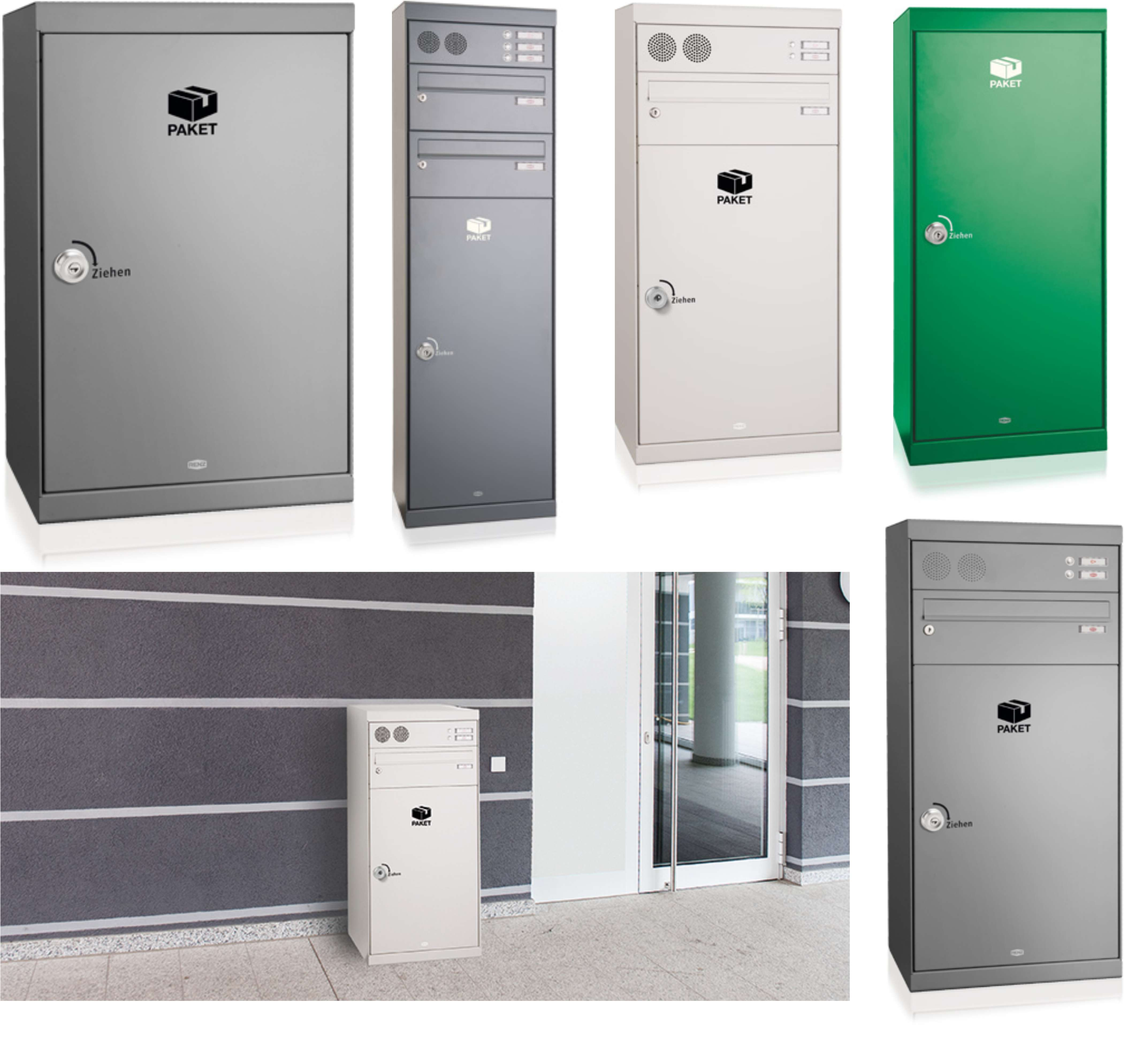 Renz Paketkasten QUBO XL mit Briefkasten mit Klingel- & Lichttaster ...