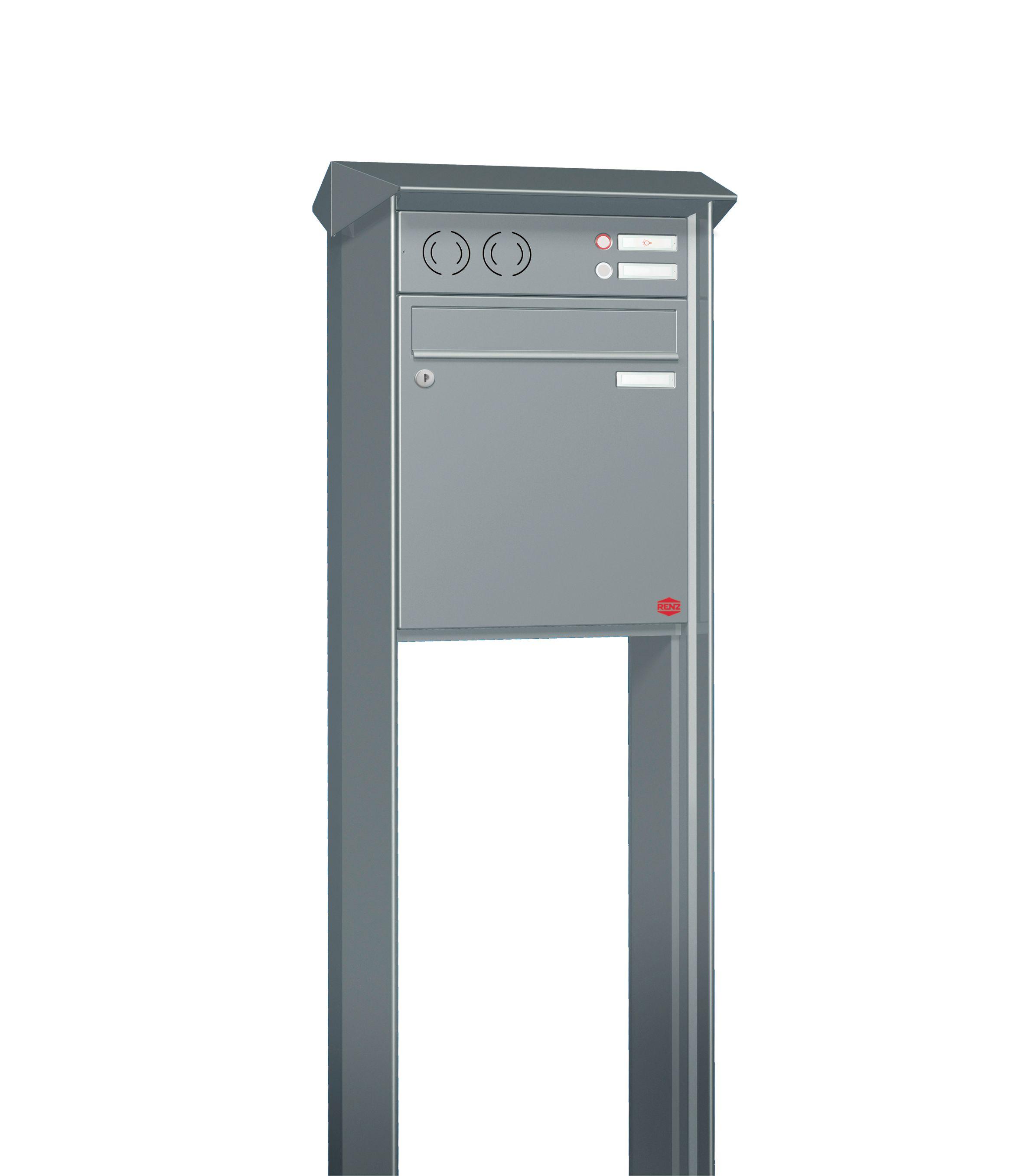 RENZ Briefkastenanlage freistehend, PRISMA, Kastenformat 370x330x100mm, mit  Klingel - & Lichttaster und Vorbereitung Gegensprechanlage 1-teilig, zum ...