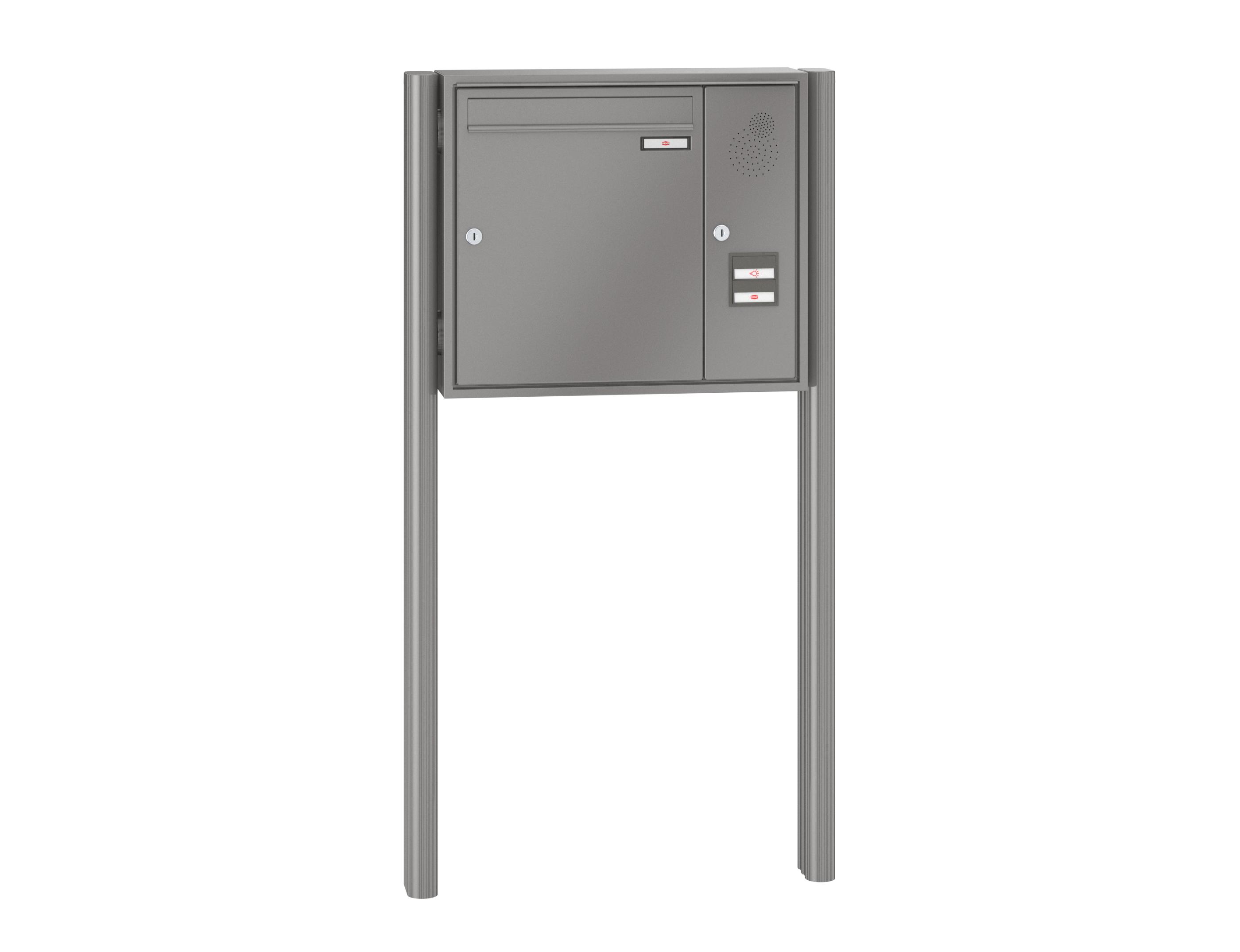 RENZ Briefkastenanlage freistehend, Quadra, Kastenformat 370x440x145mm, mit  Klingel - & Lichttaster und Vorbereitung Gegensprechanlage, 1-teilig, zum  ...