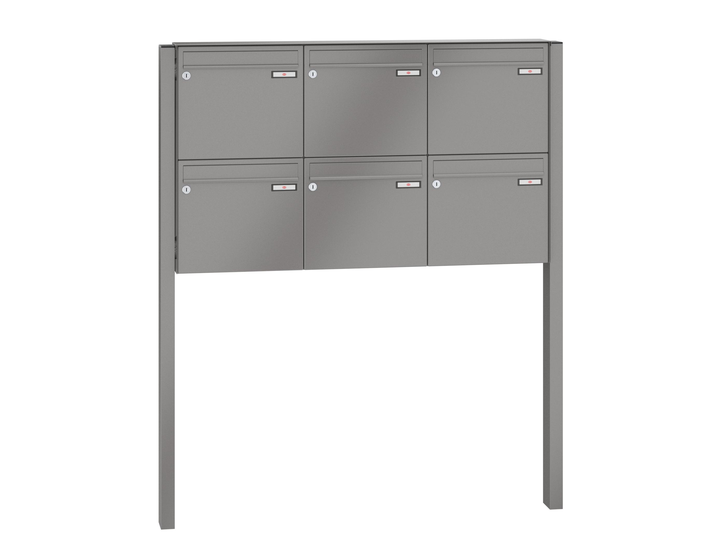 RENZ Briefkastenanlage freistehend, Basic B, Kastenformat 370x330x100mm,  6-teilig, zum Einbetonieren, Renz Nummer 10-0-25048