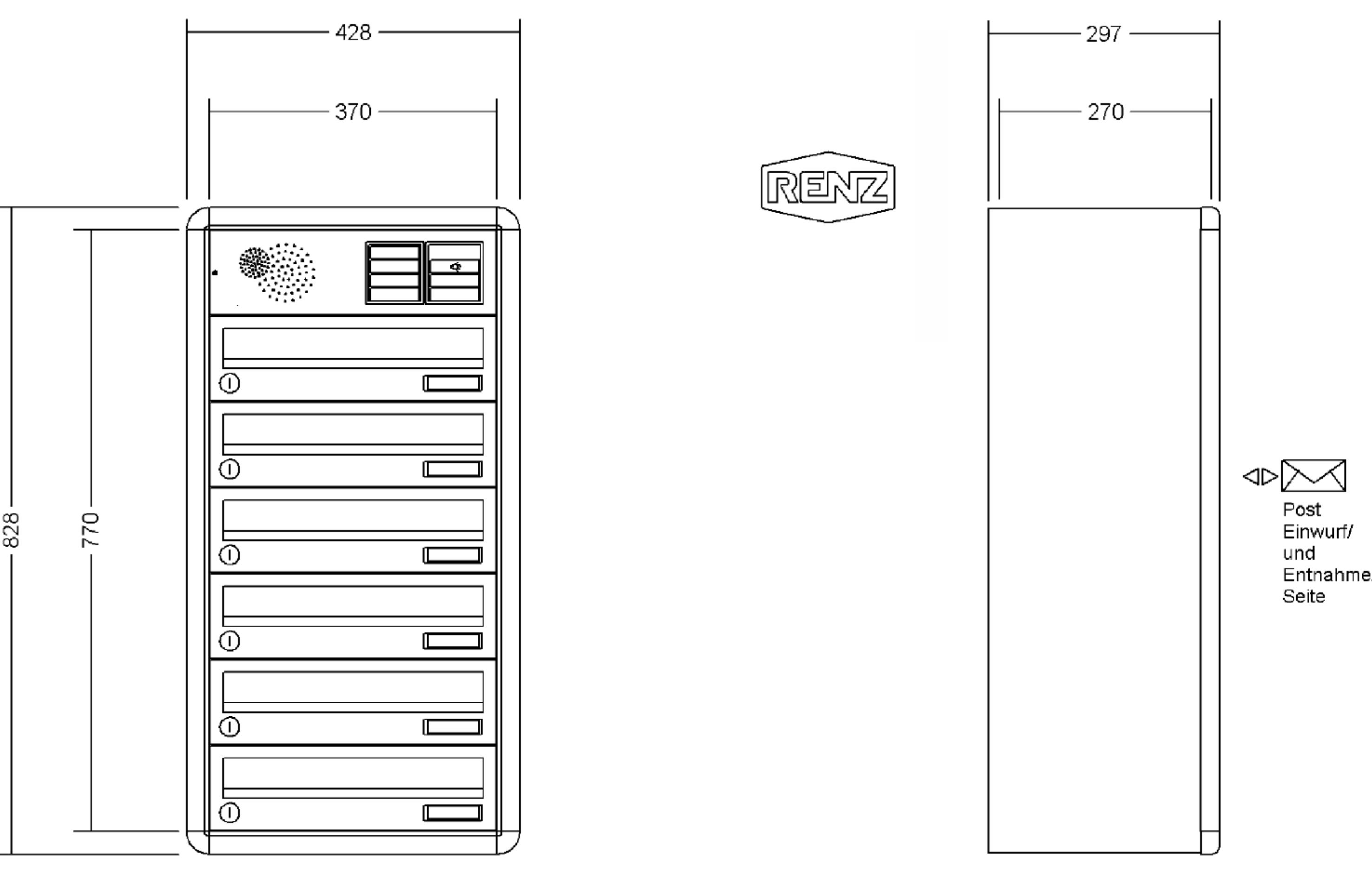 renz briefkastenanlage aufputz rs4000 kastenformat 370x110x270mm mit klingel lichttaster. Black Bedroom Furniture Sets. Home Design Ideas