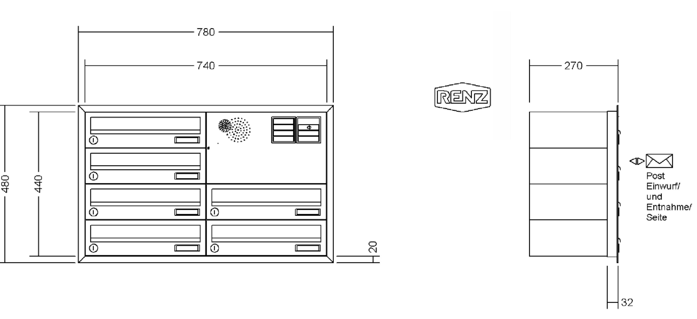 renz briefkastenanlage unterputz basic putzabdeckrahmen kastenformat 370x110x270mm mit. Black Bedroom Furniture Sets. Home Design Ideas