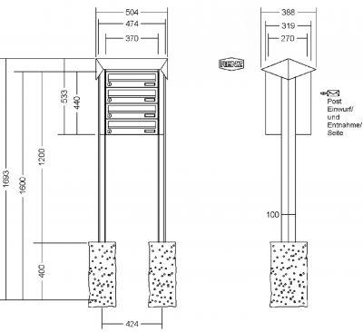 renz briefkastenanlage freistehend prisma kastenformat 370x110x270mm 4 teilig zum einbetonieren. Black Bedroom Furniture Sets. Home Design Ideas