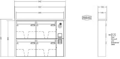 renz briefkastenanlage aufputz tetro kastenformat 370x330x145mm mit klingel lichttaster und. Black Bedroom Furniture Sets. Home Design Ideas