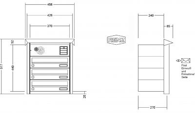 renz briefkastenanlage unterputz prisma putzabdeckrahmen kastenformat 370x110x270mm mit. Black Bedroom Furniture Sets. Home Design Ideas